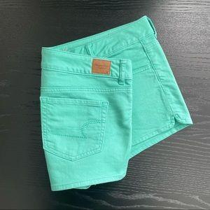 American Eagle Pastel Turquoise Denim Short Shorts